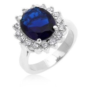 HUGE SILVER SYNTH BLUE SAPHIRE ENGAGEMENT RING
